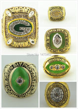Solid 6pcs/set 1961 1965 1966 1967 1996 2010 Green Bay Packers Super Bowl Championship rings size 11 best gift for fans(China)