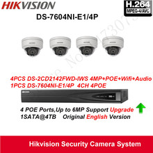 Hikvision Security Camera System 4MP IP Camera 4pcs DS-2CD2142FWD-IWS Wifi Camera Audio POE IP67with 4ch POE NVR DS-7604NI-E1/4P(China)