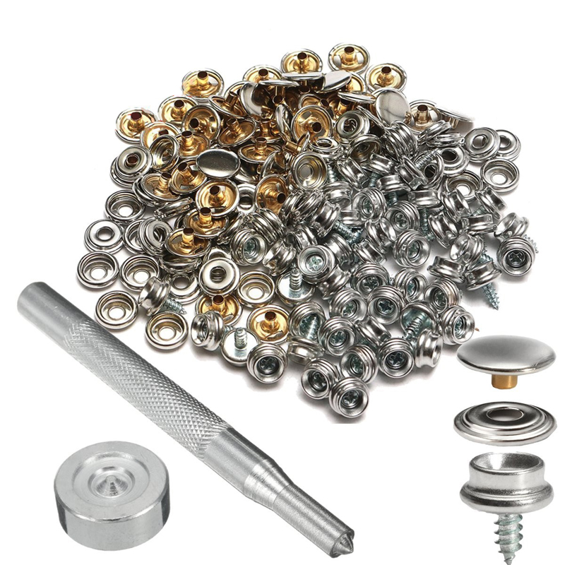 50Pcs Set Metal Buttons Snap Fasteners Press Button Stainless Steel Sewing Tools