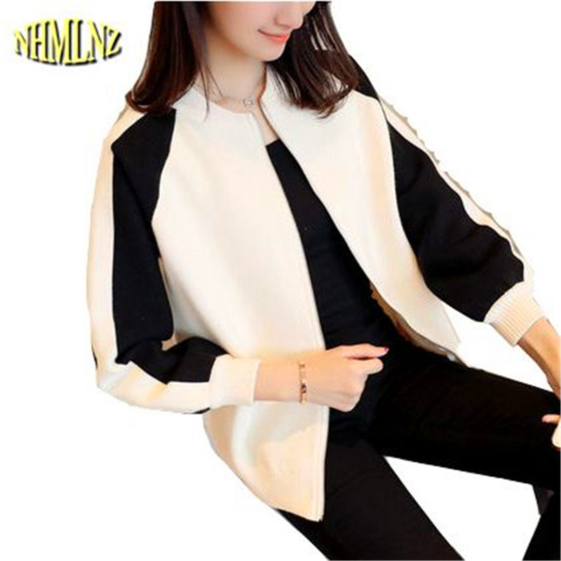 Spring Women 2017 New Korean version Casual Long-sleeved Women Sweater Baseball Stitching Round neck Women Sweater Coat WXY174(China)