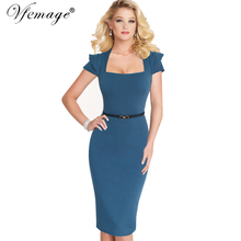 Vfemage Womens Celebrity Elegant Vintage Belted Pinup Wear To Work Office Business Casual Party Fitted Bodycon Pencil Dress 6139