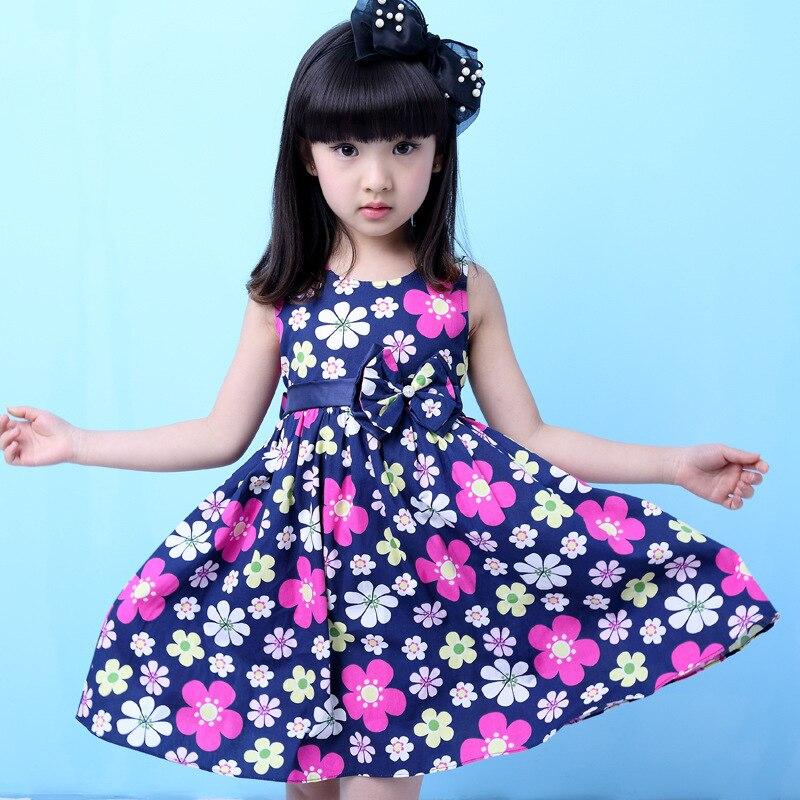 2017 Girls navy dress Bohemian kids dresses Princess printing one-piece with bow and waistband Children summer sleeveless dress<br><br>Aliexpress