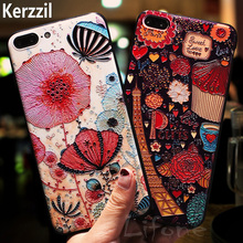 3D Relief Silicone Soft Cell Phone Case For iPhone 7 6 6S Plus Phone Dandelion Iron ride Matte Coque Cartoon Cover Back lina(China)
