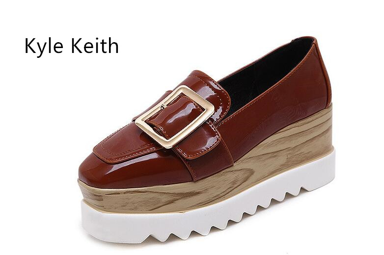 Kyle Keith Brands Women Slip on Loafers Patent Leather Brogues Fringe Shoes Woman Oxford Shoes Flat Platform Shoes<br>