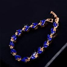 SHUANGR New Trendy 2016 Unique Jewelry Gold Color Leaf Charm AAA+ CZ Crystal Female Bracelets Bangles For Women TG555(China)