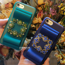 Fashion Bling Crystal Diamond silk Ribbon Bow Hard PC Phone Cases for iPhone 7 7 Plus 6 6s Plus Cell Phone Cover Carcasa