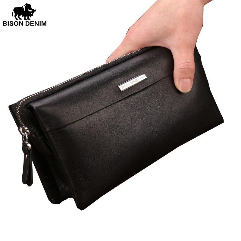 Bison Denim Men Wallet Luxury Long Clutch Handy Bag Moneder Male Leather Purse Mens Clutch Bags Zipper Mens Long Wallet N8009<br>