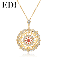 EDI Tears Of The Sun Flower Natural 3mm Garnet 925 Sterling Silver Gemstone Pendant For Women Necklace Chain Fine Jewelry(China)