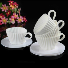 4sets/lot  Silicone Cupcake Cups Muffin Baking Cake Tea Teacup Mold with Saucers Random color