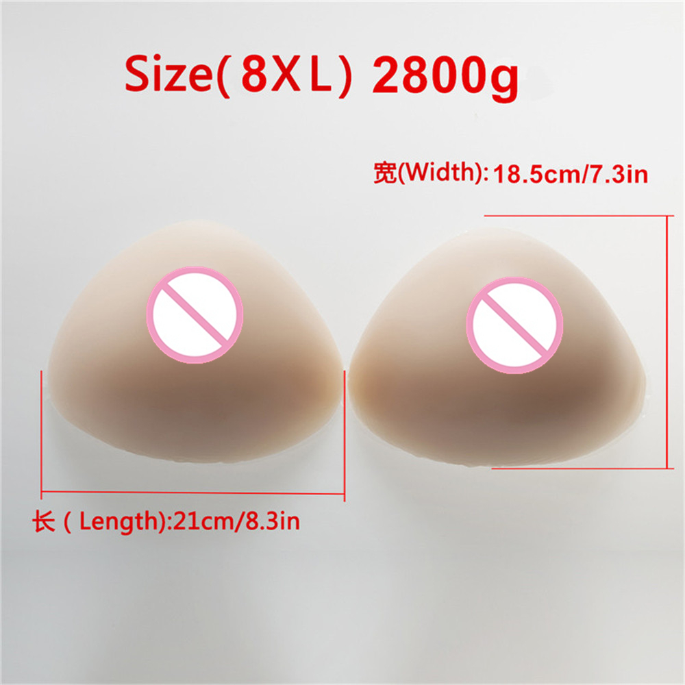 2800g/pair Triangle Silicone Fake Boobs Breast Forms Artificial Boobs TV/TS Drag Queen Shemale Transgender Boobs Enhancer