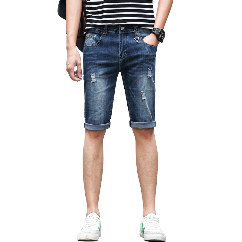 Classic Broken Hole Jeans Korean Fashion Men's Denim Shorts Casual Youthful Five Points Jeans Street Style Trend Wild Shorts