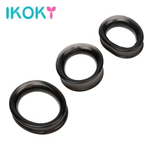 Buy IKOKY Cock Ring 3pcs/Sets Delay Ejaculation Adult Products Dildo Extender Elastic Sex Toys Men Male Masturbator Penis Ring