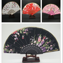 Chinese Silk Flower Fabric Lace Folding Hand Fans Figurines Wedding Dancing Party Favor Plastic Handle Fan Craft()