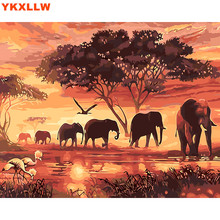 Animal pictures Wolf Elephant Deer Office decoration painting oil Painting pictures By Numbers Drawing by numbers DIY paint(China)