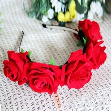 1*Rose Floral Flower Garland Crown Headband Hair Band Bridal Festival Clip Holiday(China)