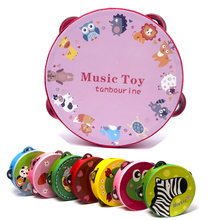 Baby Hand Held Musical Instruments Kids Wooden Drum Rattle Tambourine Toy Little Jingle Drum Rattles 6 inch 24 Colors Available