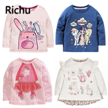 full sleeve t-shirt baby girl kids tops bobo clothes for girls t 2dshirt children horse blouse shimmer shine costume 5 6 7years(China)