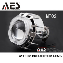Top sell 2.0inch AES Mt-02 Square bi-xenon motorcycle hid xenon projector lens kit with colorful ccfl angel eye free shipment