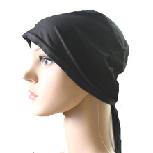 Muslim Underscarf Hijab Bonnet Cap Headband Soft 100% Cotton Stretchy with Belt Anti-Slip