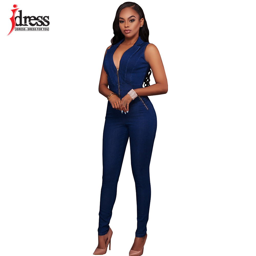 IDress Women Jeans Jumpsuit Denim Long Pants Sexy Deep V Neck Slim Overalls Jumpsuit Girl Sleeveless Club Wear Bodysuit Romper (7)