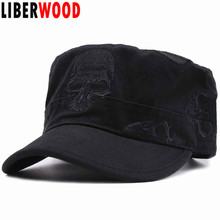 LIBERWOOD Brand new Men Embroidered skull Cap army green flat top hat Army Cadet hat cotton skulls baseball cap adjustable strap(China)