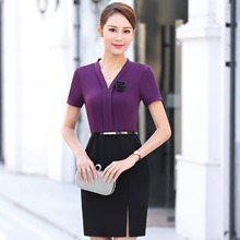 Buy Women Elegant Summer Short Sleeve Knee Mini Party Office Business Work Female Fashion V-Neck Dress 2017 Size S-3XL for $22.88 in AliExpress store