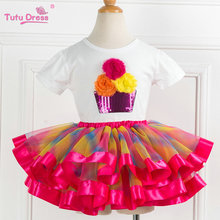 Two pieces KId Girl Set Tutu Summer Flower Cotton T-shirt+Tutu Skirt Sets Children Outfits Dance Party Prom Clothing(China)