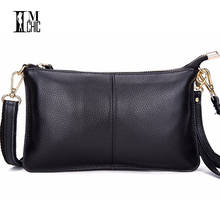 Soft Genuine Leather Women Clutch Bags Real Skin Cowhide Envelope Small Shoulder Organizer Purse Eevening Party Ladies Wristlet(China)