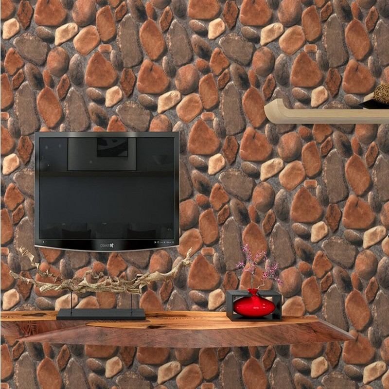 Free Shipping Modern 3D simulation cobbled stone wall paper living room video wall entrance corridor rock pattern wallpaper<br>