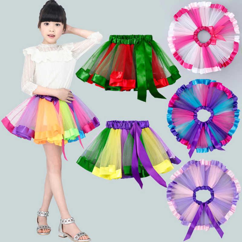 248daf4ff616 Bow Rainbow Tutu Skirts For Baby Girls Fluffy Mesh Dance Skirt Ballet Party  Tulle Princess Pettiskirt