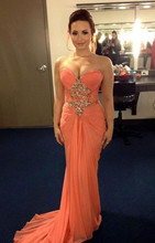 Demi Lovato Coral Sweetheart off the shoulder Sleeveless M Floor-Length Red Carpet Dress Beading Chiffon Celebrity Dresses