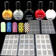 5pcs Specail Nail Polish Vanish for Nail Art Stamping 5pcs Stamp Image Konad Nail Templates Stencils Salon Women Make Up(China)