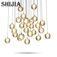Modern minimalist Creative meteor crystal ball chandelier led ceiling Light 36 Lights