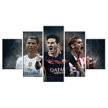 World Cup Barcelona Atletico Madrid 5 Piece Modern Painting Football Wall Art Canvas Picture For Living Room Home Decor(China)
