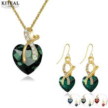 KITEAL Trendy Blue Green Red women jewelry set heart green big zircon zircon water-drop african jewelry set charms(China)
