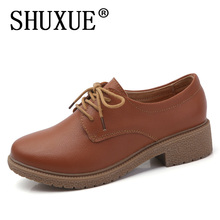 SHUXUE 2017 Autumn women oxfords shoes women brogue high heel boat shoes lace up pointed toe Creepers black pumps 982(China)