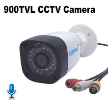 Audio CCTV Camera 900TVL with Microphone Waterproof Voice & Video Monitor Surveillance Camera IR Night Vision Video Security(China)