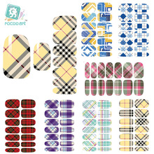 Rocooart K3 Multi Color Water Transfer Nail Art Sticker Minx Manicure Decoration Styling Tools Nail Wraps Decals Classic Plaid