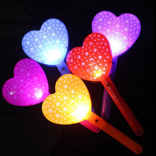 2018 Kids Love Heart LED Light-Up Glow Sticks Flashing Wand Sticks Cheer Props Party Favors Gift Christmas Navidad New Year(China)