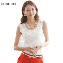 Blusas Femininas 2017 Summer Women Blouse Lace Vintage Sleeveless White Renda Crochet Casual Shirts Tops Plus Size S M L XL XXL