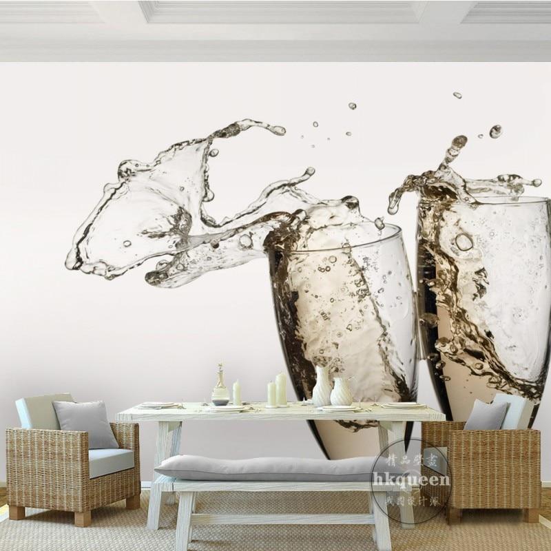 Champagne wine glass modern elegant background wall stereo 3D living room mural high quality bedroom hotel custom wallpaper<br><br>Aliexpress
