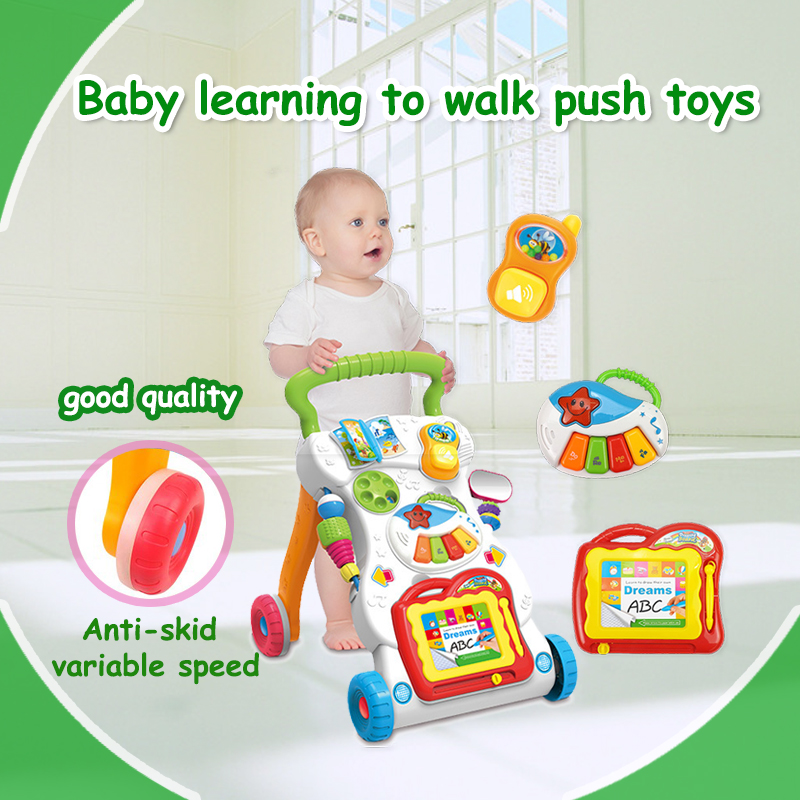 Multifunction Musical Baby Walker with wheels Ride on Toys trolley Baby toys Learn to walk Enlighten Eductional toys for kids(China)