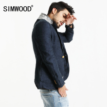 SIMWOOD 2017 Spring New Blazers Men Slim Fit Thin 100% Pure Linen Coats Casual Suit Brand Clothing XZ6117