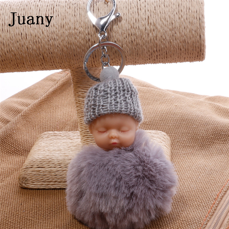 pompom key chain sleeping baby key chain cut rabbit fur ball keychain car key ring women keychian bag charm porte clef5