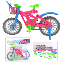 1 Bag 28cm Plastic Mini DIY Bicycle Toys Educational DIY Mini Finger Bicycle Model Toys Bike for Children Gifts(China)