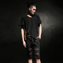 Fake 2 piece 2016 Summer Gothic punk leather t shirt men Short sleeve Black Slim fit Night club DJ clothing