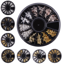 Multi Size Nail Art Metal 3D Studs Rhinestones Beads Star Round Hollow Flake Mixed Shape Gel Polish Tips DIY Charm Jewelry Decor(China)