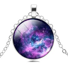 2017 Hot Sale Choker Necklace Galaxy Universe Pendant Necklace Jewelry Silver Chain Glass Cabochon Maxi Jewelry for Women Anime