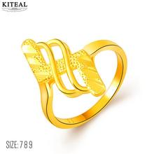 High Quality 24K GP gold Color Engagement rings twist 8 Z shape finger ring Size 7 8 9 anillos to.us bear margarida