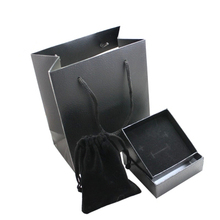 Black Color Small Velvet Bag Pouches & Gift Paper Box & Paper Bag Set for Jewelry Packaging